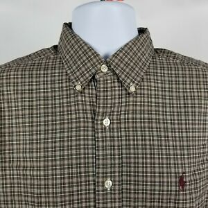 Ralph-Lauren-Classic-Fit-Mens-Brown-Check-Dress-Button-Shirt-Sz-16-Large-L