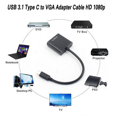 USB Type-C USB-C to DVI M//M Adapter Cable 1080P For Notebook Laptop Matebook PC