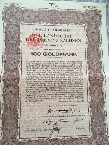 100 Goldmark Pfandbrief uncancelled gold bond Germany 1927