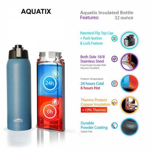 Aquatix Dark Blue Insulated FlipTop Sport Bottle 32 ounce Pure Stainless Steel
