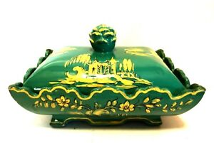 Italian-Lidded-Bowl-Hand-Painted-Porcelain-Green-Yellow-Numbered-7-25-inch-Long