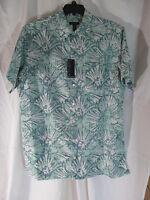 Men's Van Heusen= Green Hawaiian Floral Short Sleeve Dress Shirt Sz Lt