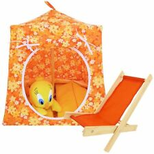 Orange, floral print Toy Play Pop Up Camping Tent, 2 Sleeping Bags, handmade