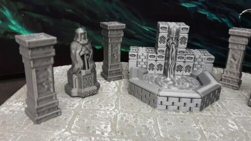 7 Piece Dwarven Halls Fountain Set Scatter Terrain Miniature Dungeons /& Dragons