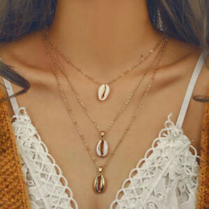 5762626f8cf5b Details about Fashion 3-Layer Shell Pendant Necklace Jewelry Beach Chain  Thin Choker Gold Boho
