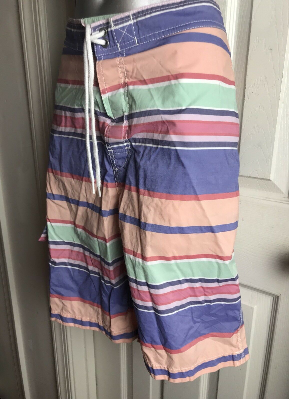 Vintage Ralph Lauren Polo Swim Trunks Shorts Mens Sz  Small S - Rainbow Stripe