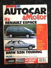 AUTOCAR MAGAZINE 29-MAY-91 - Peugeot 605 24v, Ford Orion Ghia, Renault Espace V6