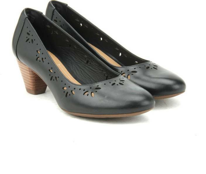 New Clarks Denny Dazzle Cuir Noir Chaussures-Taille UK 4E