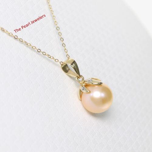 14k Yellow Gold Claw Bail Set Diamond /& Genuine Peach Cultured Pearl Pendant
