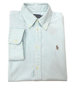 Ralph-Lauren-Femme-Oxford-Chemise-chemisier-court-boutonnee-a-manches-taille-M