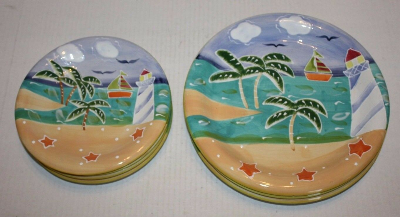Style-Eyes by Baum Bros Lighthouse Sailboat Palm Tree Plates 4 Dessert 3 Dinner
