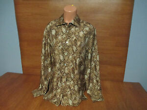 New-Womens-Size-Medium-M-Casual-Corner-Brown-Print-Washable-Silk-Blouse-Top-Shir