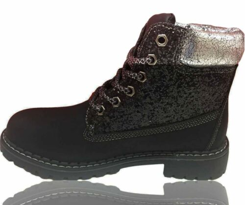 WOMENS LADIES COMBAT BOOT LACE UP ANKLE BOOTS CASUAL RUBBER GRIP SOLE SHOES SIZE