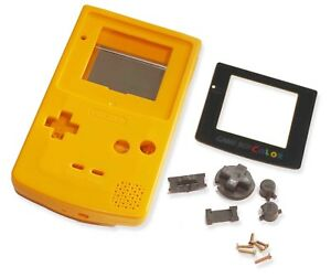 Game-Boy-Gameboy-Color-GBC-Yellow-Shell-Case-Housing-w-Screen-amp-Tools-UK