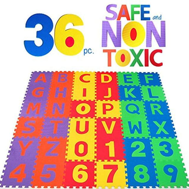 36 Pc Abc Foam Mat Alphabet Number Puzzle Play Flooring Children Learning Kids