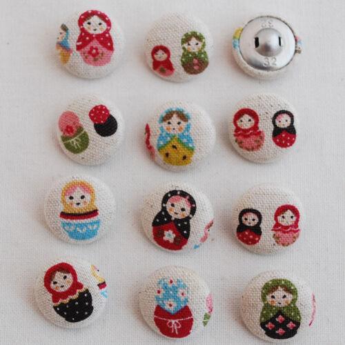 2cm 11 Handmade Cotton Linen Blend Fabric Covered Buttons Kawaii Russian Doll