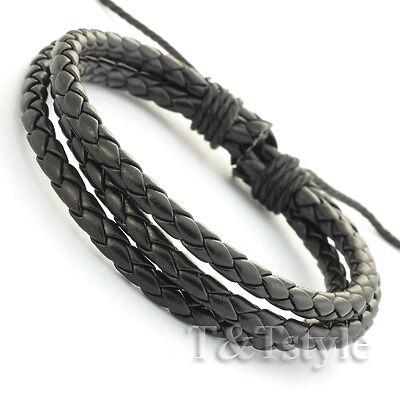 STYLISH T/&T BLACK Leather Bracelet Wristband NEW