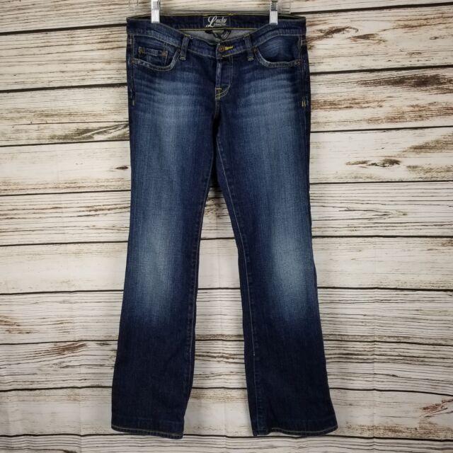 Lucky Brand Jeans Women's Size 28 Blue Denim Mason Lil Maggie Flare Sandblasted