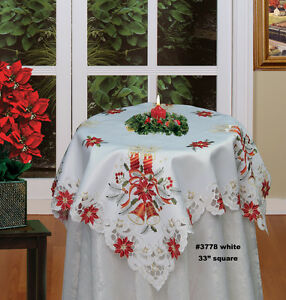 Image Is Loading Christmas Poinsettia Tablecloth  33 034 Square Topper Holiday