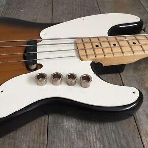 """4x Fender 1951-57 Precision Bass Big Corps Embouts """"nickel Vieilli"""" Vintage-afficher Le Titre D'origine"""