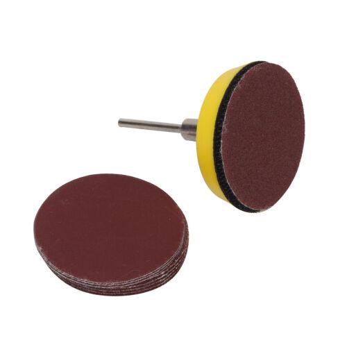 2/'/' 50mm Hook & Loop Sander Backing Pad /& Shank 60x 100-2000 Grit Sanding Disc