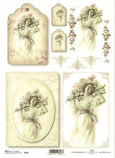 Rice Paper for Decoupage Scrapbooking, Vintage Lady Tags Flowers A4 ITD R362