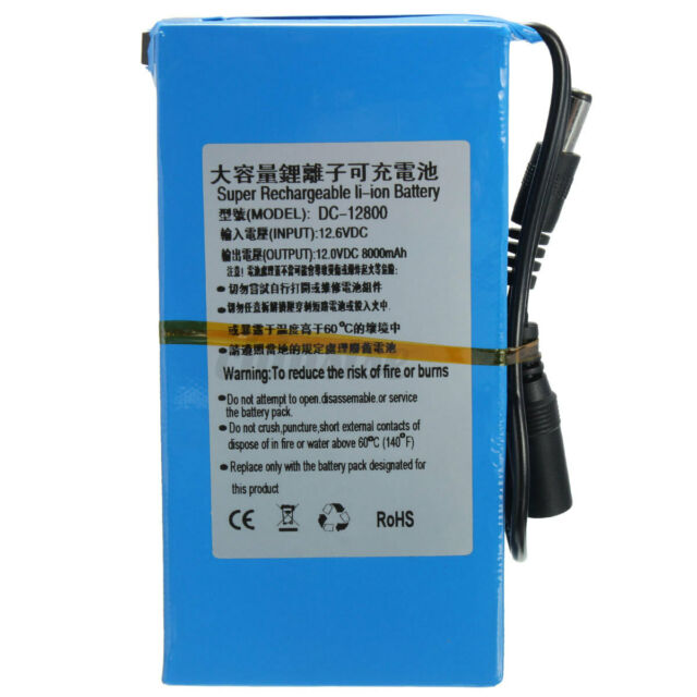 DC 12V 8000mAh Super Rechargeable Portable Lithium-ion Battery Pack with US-Plug