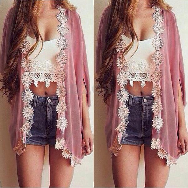 Women Retro Floral Boho Hippie Loose Style Kimono Cape Cardigan Blouses Jacket