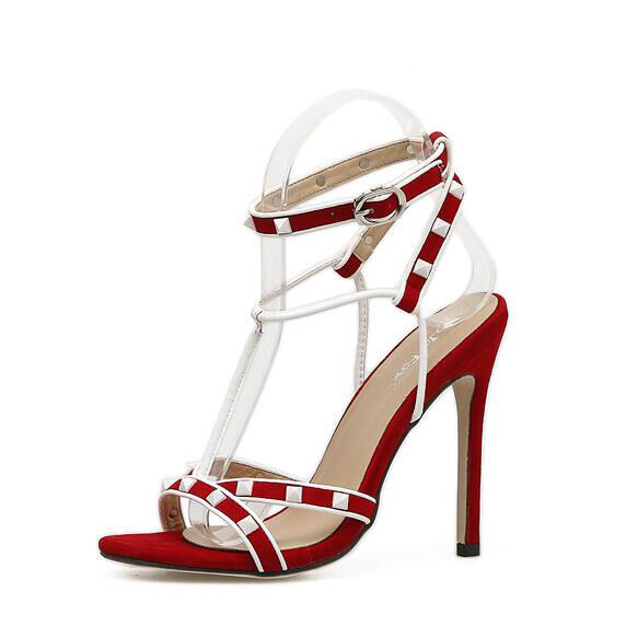 Sandale stiletto eleganti tacco   12 cm rosso bianco simil pelle eleganti 9934