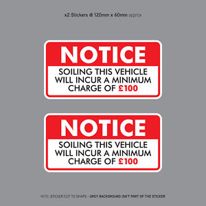 Minimum-Soiling-Charge-100-Sticker-Ideal-For-Taxi-Coach-Bus-Minibus-SKU3131