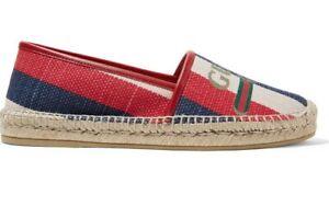 Gucci-Sylvie-Canvas-Leather-Red-White-Blue-Logo-Stripe-Flat-Espadrilles-34-5