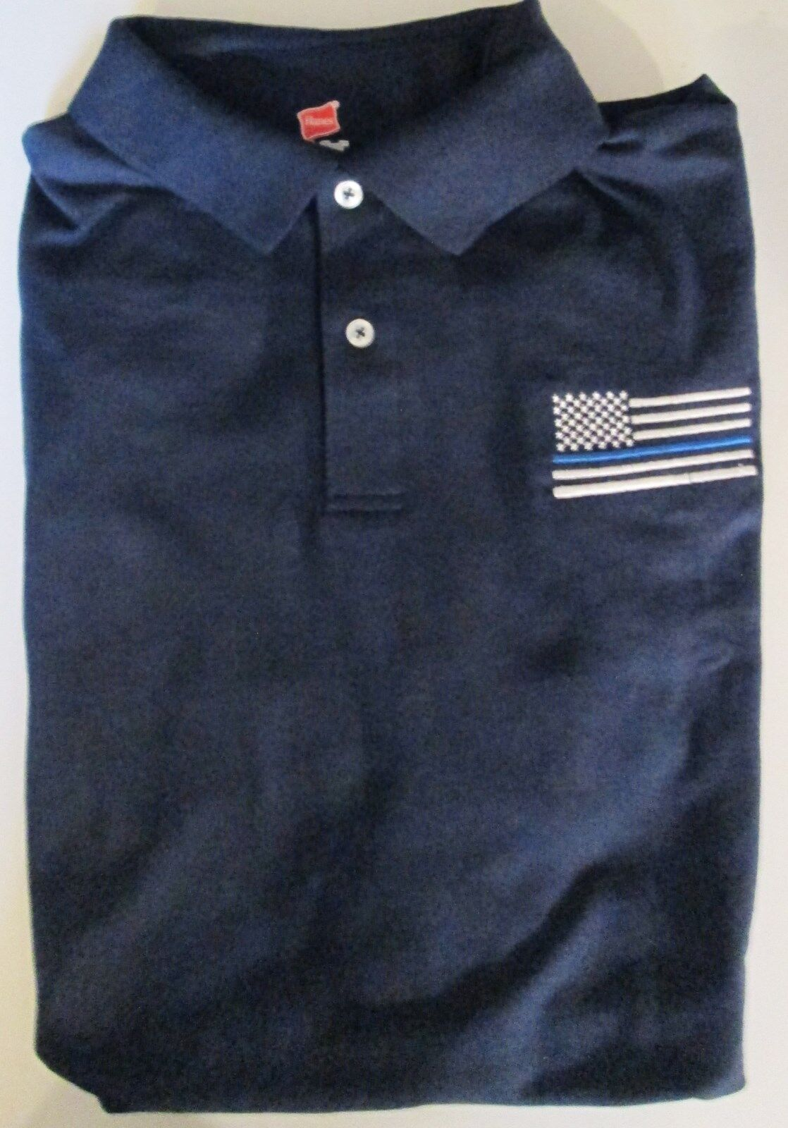 dafd85d8224a POLICE LIVES blueE FLAG EMBROIDERED LIGHTWEIGHT POLO SHIRT LINE USA ...