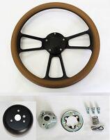 64-1966 Oldsmobile 442 F85 Cutlass 98 Tan Grip On Black Steering Wheel 14