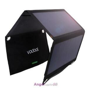 Vodool 21W Solar Panel Dual USB Power Bank External Phone Fast Charger Foldable