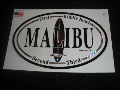 """MALIBU  SURF SURFING SURFBOARD BEACH DECAL STICKER /"""" BEEN THERE...SURFED THAT/"""""""