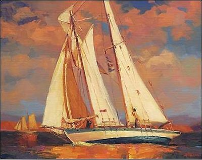Steve Henderson: Al Freso Keilrahmen-Bild Leinwand Segelschiff Yacht Regatta