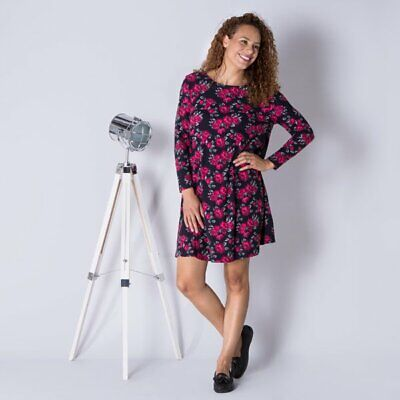 Styled By Navy Blush Floral Fit And Flare Dress M 12-14 XL-20-22 uk