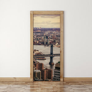 Details About Door Mural New York City And Brooklyn Bridge Self Adhesive Fabric Wall Sticker