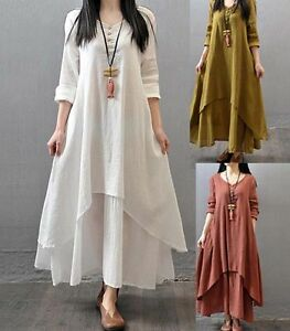 ea23b7226eb4 Image is loading Muslim-Women-Kaftan-Abaya-Jilbab-Islamic-Girls-Cotton-