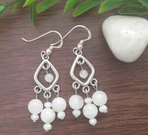 925 sterling silver hooks white moonstone chandelier earrings image is loading 925 sterling silver hooks white moonstone chandelier earrings aloadofball Choice Image