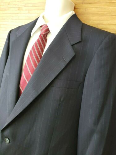 Yves Saint Laurent Navy Blue Pinstrip Suit Jacket