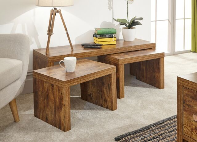 Jakarta Long John Coffee Table Set 1 Large 2 Small Tables Distressed Style Nest
