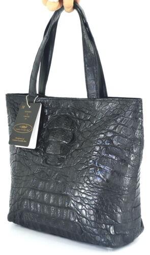 Krokodilleder 8111164787002 Handtasche Hornback Neu Big Echtes Tasche 100 Schwarz q6pxzwUt8