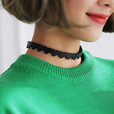 Sweet Style Girl Design Black Heart PU Leather Clavicle Necklace Collars chocker