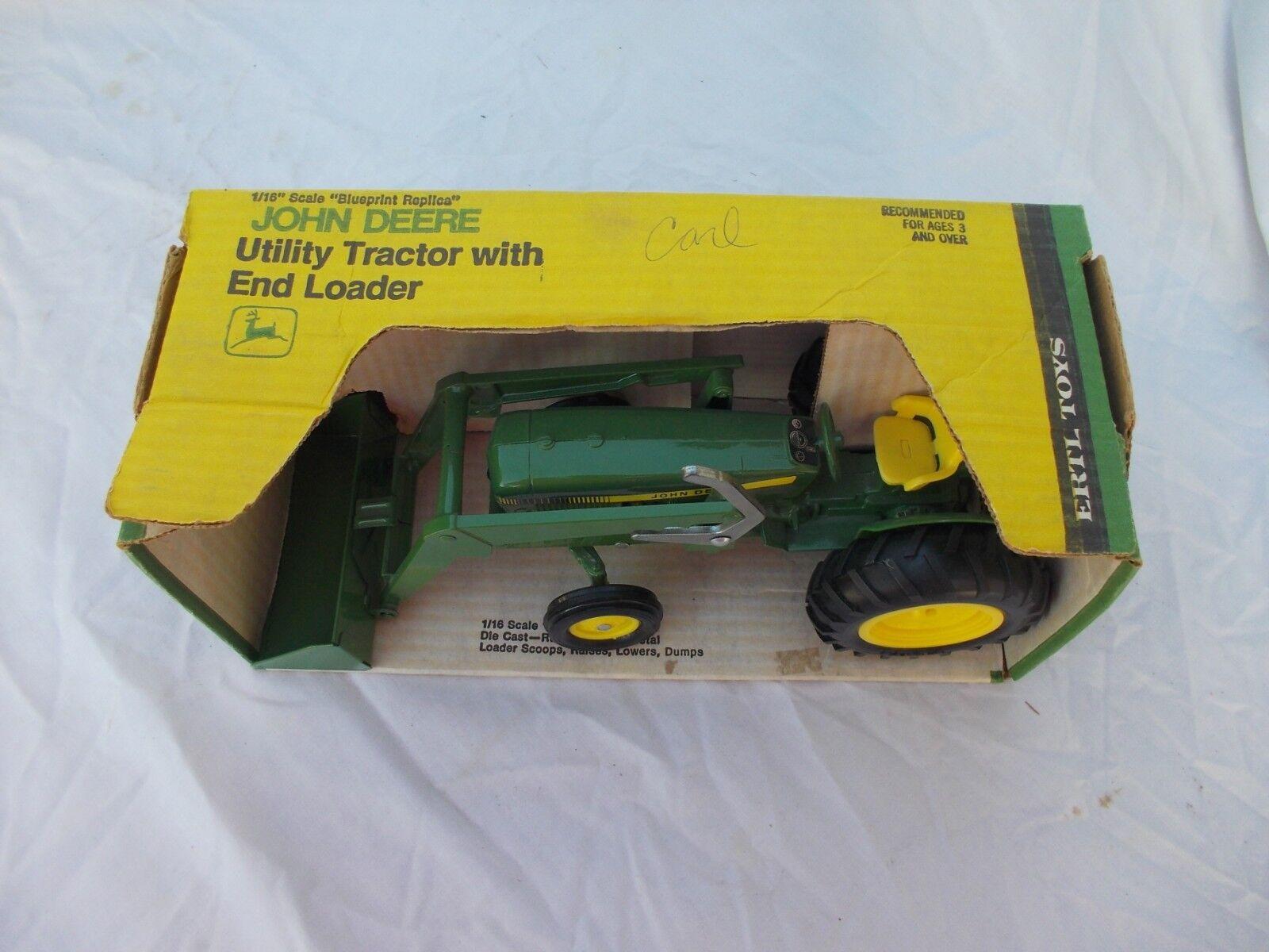 John Deere utilitaire tracteur Chargeur JD  échelle 1 16 Vintage ERTL co nouveau IN BOX IN BOX 517  réductions et plus