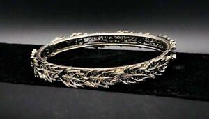 Vintage-Silver-Cuff-Bracelet-Leaf-Design-Hinged-Very-Lovely