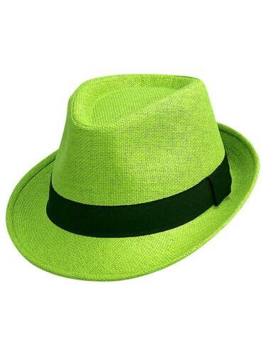 LIME GREEN BASIC STRAW FEDORA HAT
