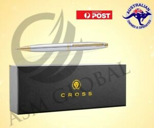 Cross-Calais-Medalist-Ballpoint-Pen-Chrome-24k-Gold-Appointments-with-gift-box