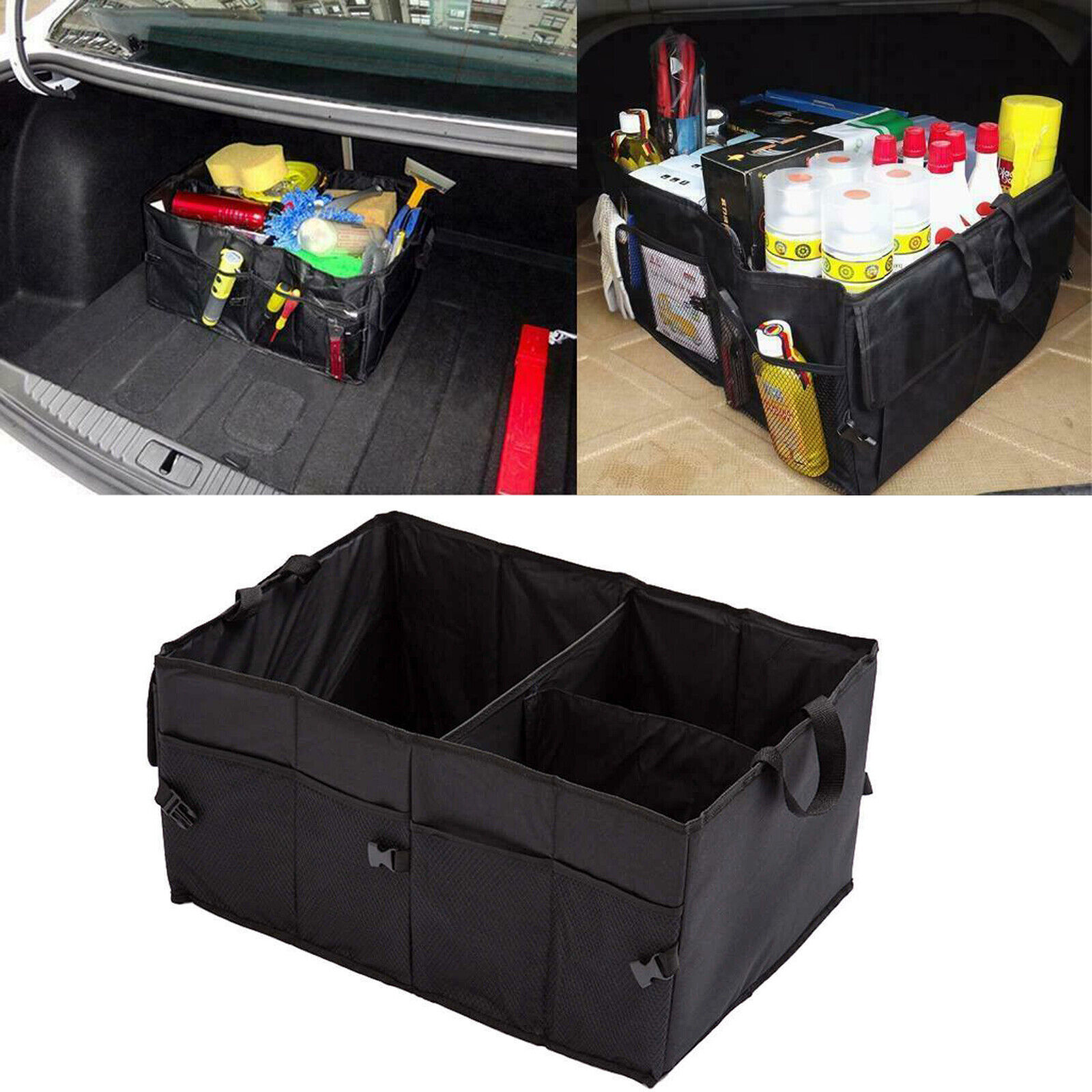 Durable Base Plates the Trunk Tool Boxes Car Trunk Organizer for SUV Detachable Divide and Large Side Pockets for Groceries Waterproof Cargo Box Large Collapsible Trunk Organizers and Storage