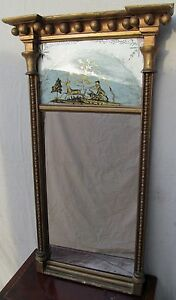 19th C Federal Eglomise Antique Mirror W Hunting Scene